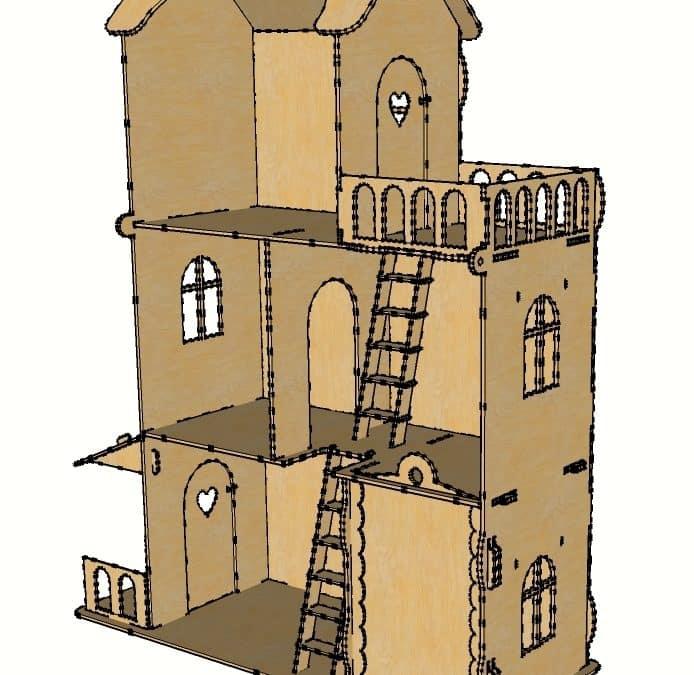 Casa para muñecas con terraza.