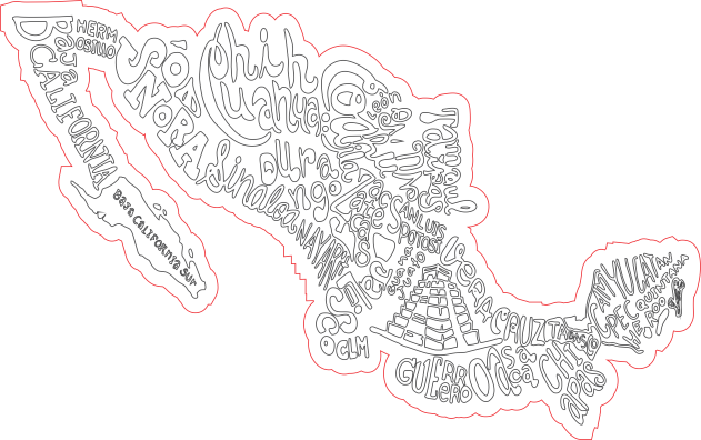 Mapa de México con nombres estilizados