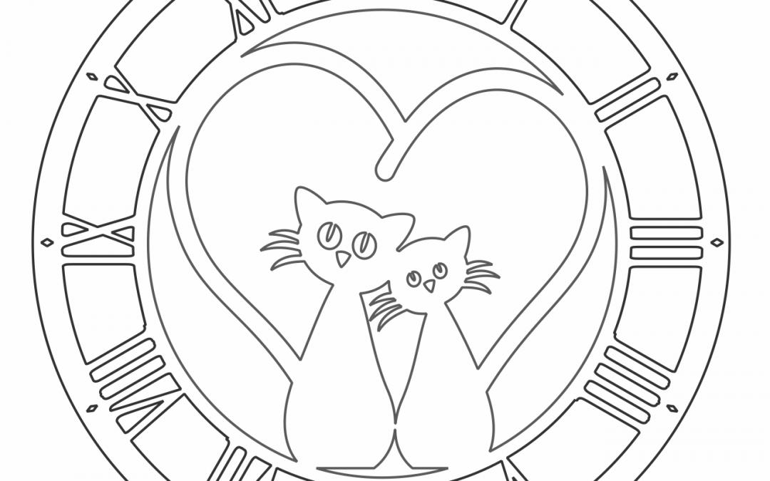 """Reloj """"Pareja de gatos"""""""