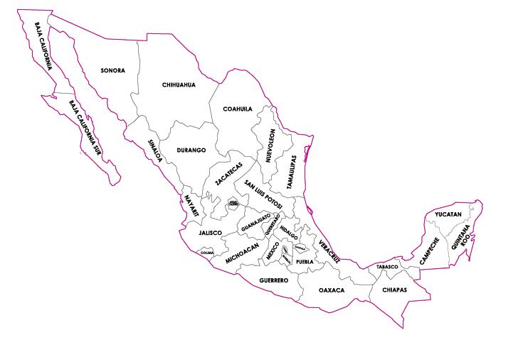 Mapa de la República Mexicana con nombres