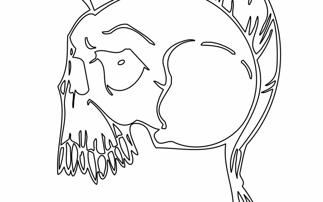 Cráneo con mohicana
