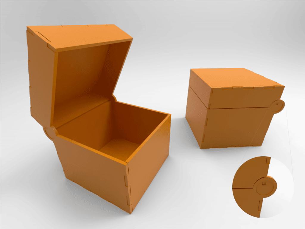 cajas con bisagras en corte láser cnc